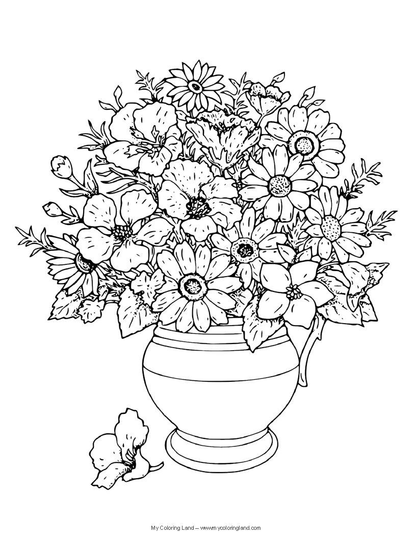 flower vase coloring page. Flower Coloring Pages  My Land