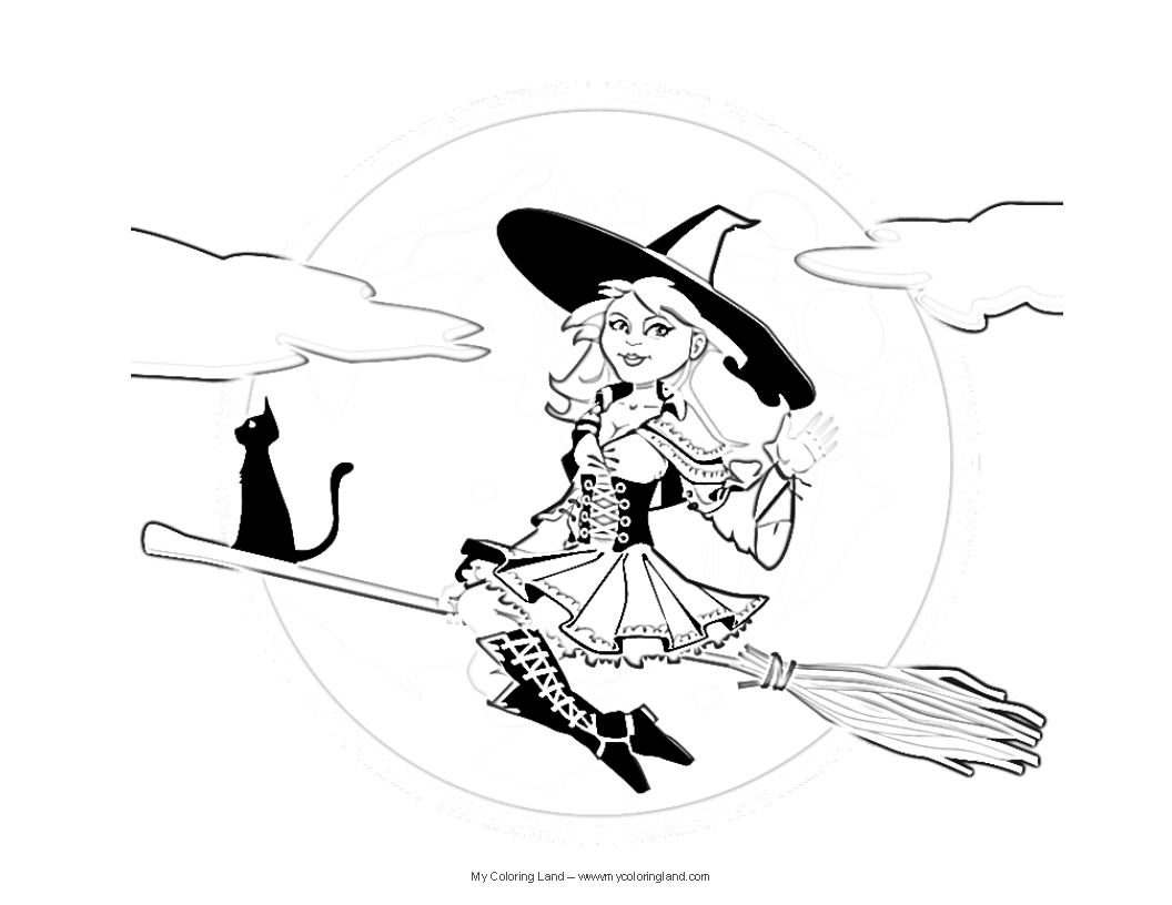 cute witch halloween coloring pages - photo#35