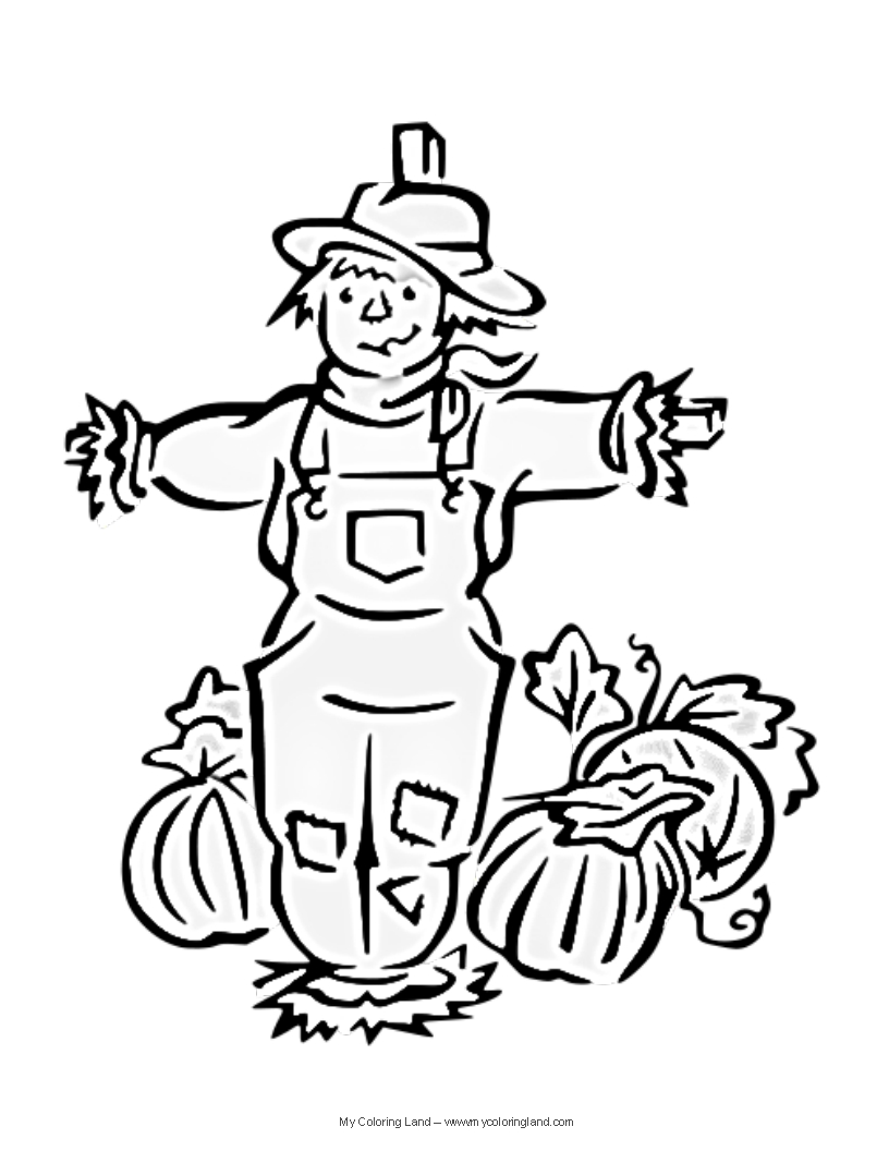 Halloween my coloring land for Printable scarecrow coloring pages