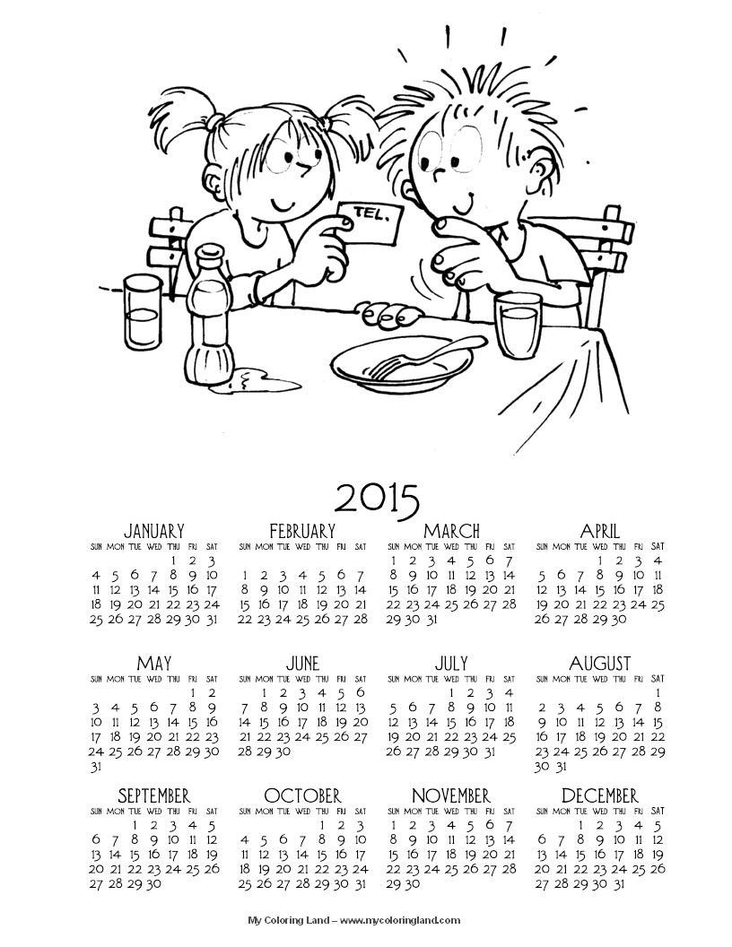 Lets start with a printable coloring calendar for year 2015 which is also available with already colored picture